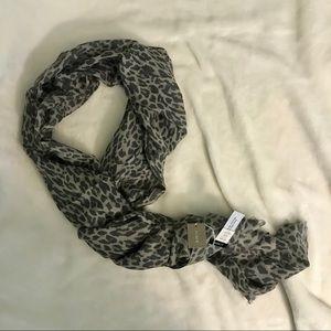 J. Crew Gray Leopard Wool Scarf